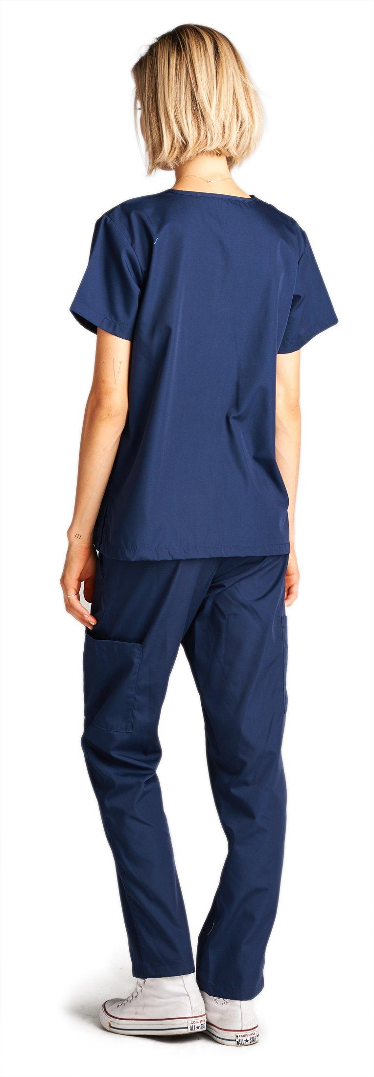 Dagacci Medical Uniform Woman and Man Scrub Set Unisex Medical Scrub Top and Pant, NAVY, M by Dagacci Medical Uniform (Image #3)