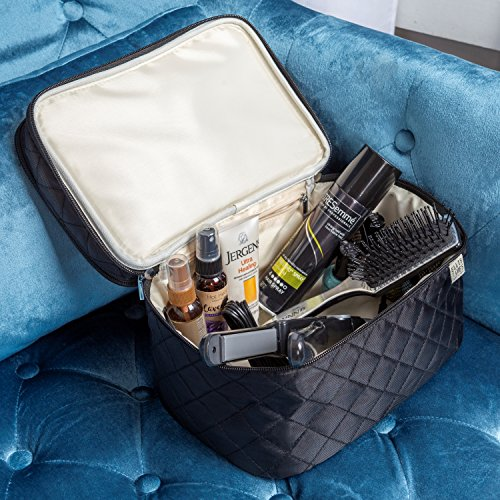 Ellis James Designs Large Travel Makeup Bag for Women - Black Make Up Bag for Women - Travel Cosmetic Bag - Makeup Case Gifts for Women, Makeup Organizer Bag, Travel Toiletry Bag for Women