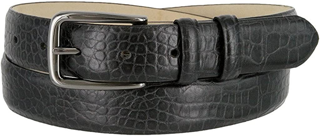Hagora Men Real Calfskin Alligator Lizard Smooth Texture 30mm Wide Buckle Belt