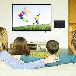 puerta Antena de TV digital Fibra de carbono profesional 180 millas 4K HD Freeview Life Canales locales Todo tipo Interruptor de televisión Amplificador Amplificador de señal para HDTV Canales: Amazon.es: Hogar