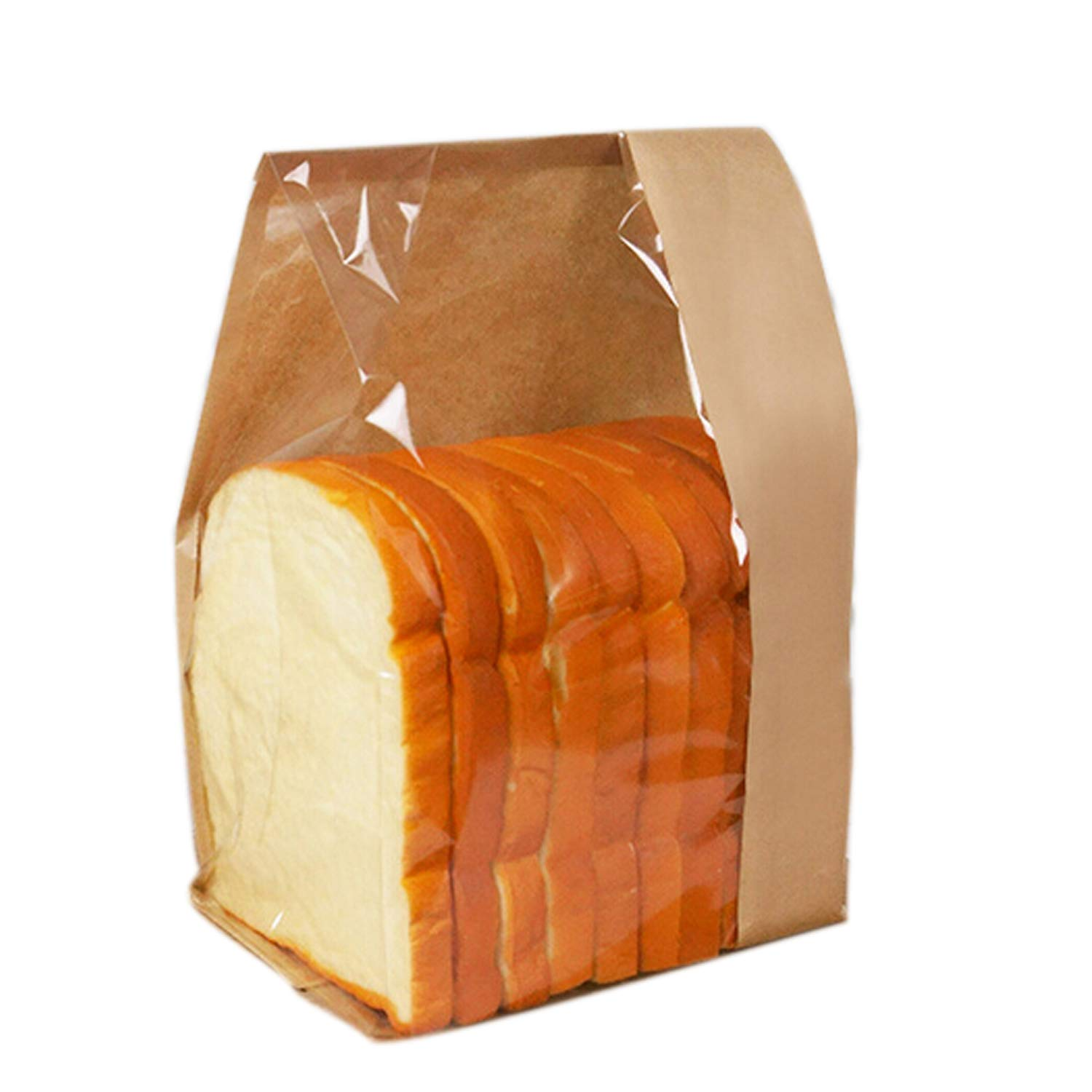 Pack of 50 Paper Bread Loaf Bag Kraft Food Packaging Storage Bakery Toast Bag with Front Window, Label Seal Sticker Included (12.8''Lx 6.5''Wx 4''H)