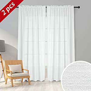 Melodieux White Semi Sheer Curtains 63 Inches Long for Living Room, Linen Look Bedroom Rod Pocket Voile Drapes, 52 by 63 Inch (2 Panels)