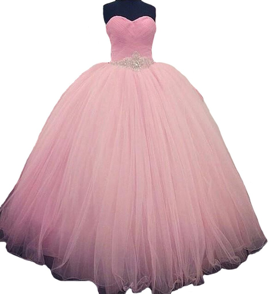 Dearta Women's Ball Gown Sweetheart Crystals Quinceanera Dresses Prom Pink US 8
