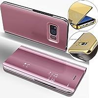 COTDINFOR Lustrzane etui do makijażu do Samsung S6 Edge wąski widok stojący pokrowiec jasny kryształ przezroczysty…