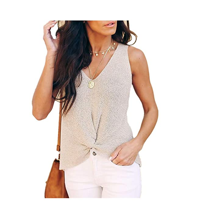 Amazon.com  Matoen Women Sexy Hand-Made Knitwear Vest Sleeveless V-Neck  Sweater Knot Fashion Long Tops Blouse T-Shirt Tank Tops  Clothing