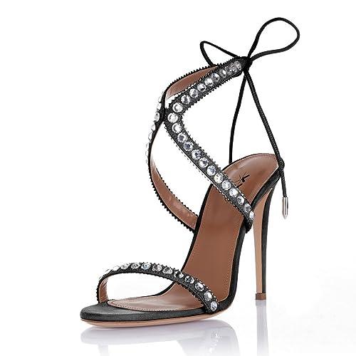 0e55d90158e27d XYD Evening Party Rhinestone Sandals Open Toe Lace Up High Heel Stilettos  Pumps Shoes for Women
