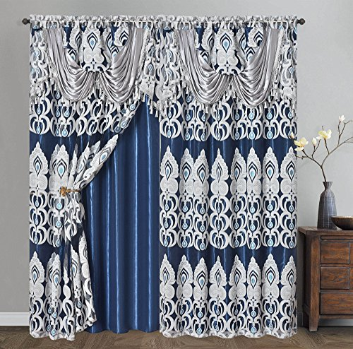 PEACOCK PRIDE. Clipped voile. voile jacquard window curtain panel drape with attached fancy valance and taffeta backing. 2pcs set. Each pc 54 inch wide x 84 inch drop + 18 inch valanc. (NIGHTSKY BLUE)