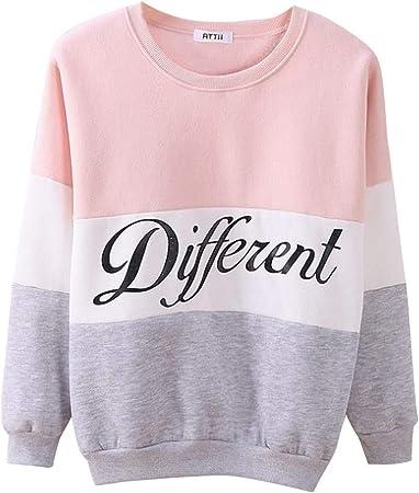OPAKY Sudaderas Mujer Adolescentes Chica Niña Deportivo Camiseta Manga Larga Tops Ropa Invierno Otoño 2019 Sueltas Casual Colorblock Sweater Pullover Blusa Tops Chaqueta