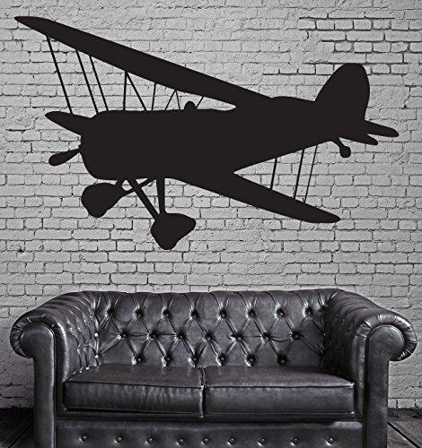 - Vinyl Decal Vintage Airplane Propeller Two Wings Biplane Wall Sticker n589