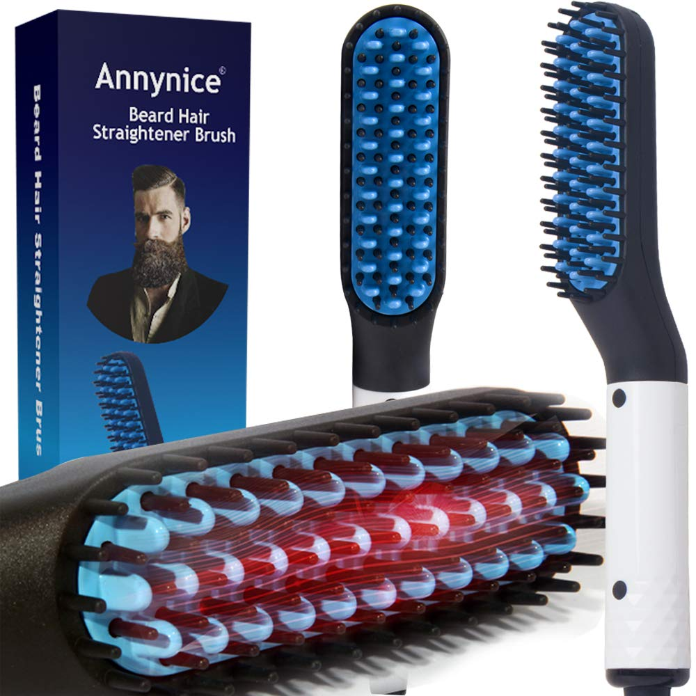 Beard Straightener Comb, Quick Hair Styler Multifunctional Hair Curler Straightening Permed Clip Comb Styler Electric Hair Tool for Men