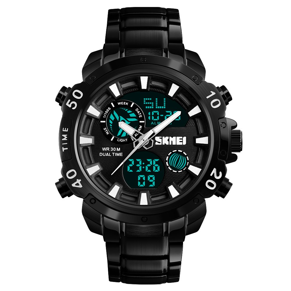 01f0b97d2 Amazon.com: Men Digital Sports Watch, Military Waterproof Stopwatch Timer  Alarm Calendar EL Light Wristwatches for Men Boys - Black: Watches
