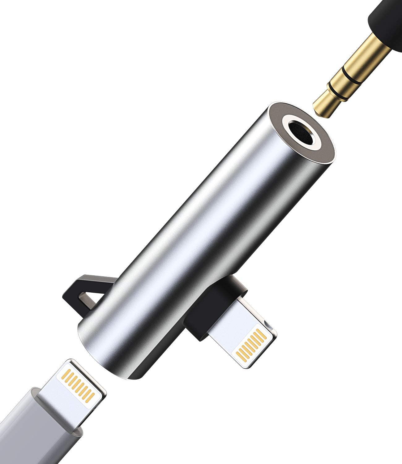 Headphone Adapter Lightning to 3.5mm AUX Audio Jack and Charger Extender Dongle Earphone Headset Splitter Compatible with iPhone 12 Mini 11 pro max xs xr x se2 7 8 Plus for Ipad Air Cable Converter