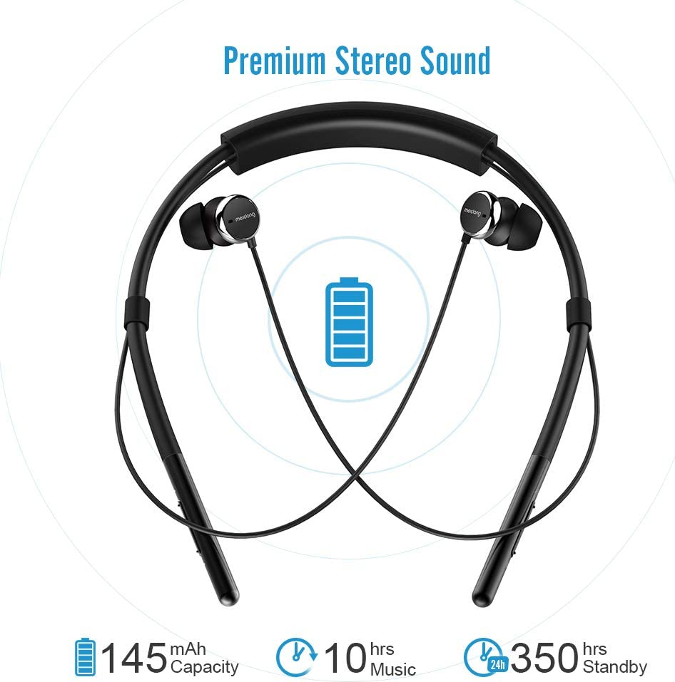 Neckband Bluetooth Headphones, Meidong Active Noise Cancelling Earbuds Sport Wireless Headset with Deep Bass HD Stereo, Built-in Mic, Lightweight and Waterproof for Gym Running New Version