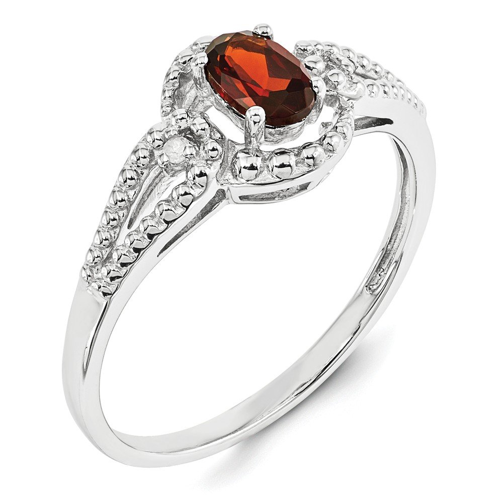 Garnet and Diamond Ring Mia Diamonds 925 Sterling Silver Solid .02cttw