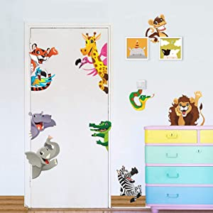 Jungle Animals Wall Stickers for Kids Rooms Home Door Decor Cartoon Lion Elephant Giraffee Wall Decals PVC Mural Art DIY Posters(Animal 2)
