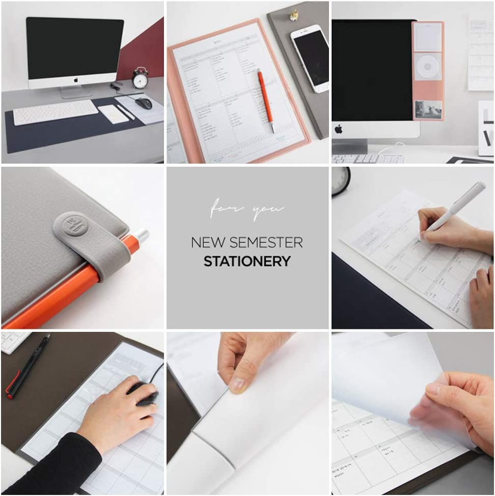 YUMUO PVC Multi-Functional Desk Pad,Microfiber Mouse Mat Desk Protector Waterproof Mat Writing Pad Desk Mat for Office and Home Gray