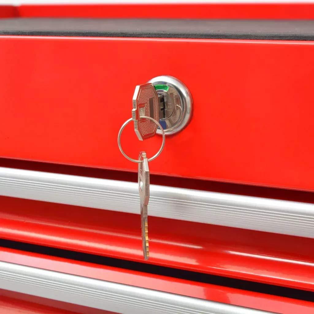 Chariot d/'Atelier avec 1125 Outils Chariot /à Outils Roulant avec 7 Tiroirs Verrouillable et 4 Roulettes Pivotantes Servante dAtelier Station de Rangement Mobile en Acier 69 x 33 x 77.2 cm Rouge