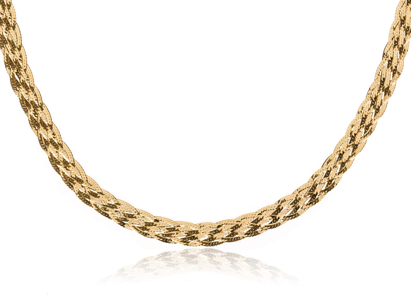 SilverLuxe 925 Sterling Silver 6 Row Braided Herringbone Chain Italian Made 18'' Gold Plated