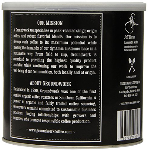 Groundwork Coffee, Organic Black Magic Espresso, Whole Bean, 16-Ounce Cans (Pack of 2)