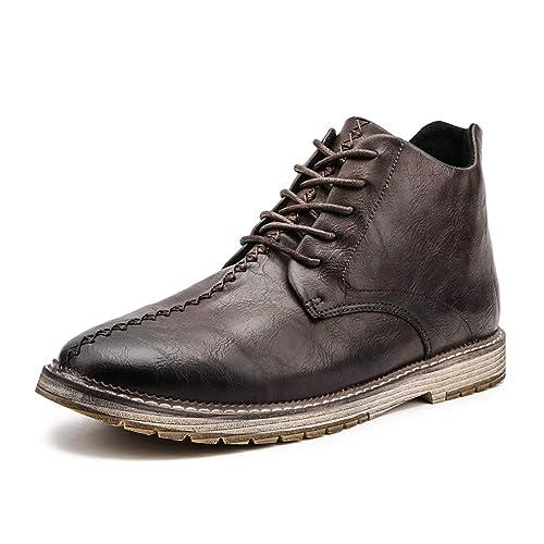 Botines para Hombre Botines con Cordones Botas De Estilo Vintage Calzado Antideslizante Zapatos De Trabajo En Negro MarróN para Caminatas Al Aire Libre: ...