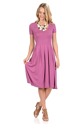 Iconic Luxe Women's Short Sleeve Pleated Midi Dress With Pockets by Iconic Luxe