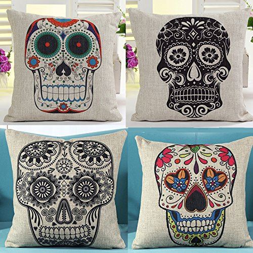 L&J.ART® 4 PCS 18'' Vintage Black&Colourful Mexican Day of the Dead Sugar Skull Linen Pillow Cushion Covers 4KD6 by L&J ART