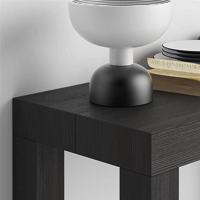 Mobilifiver Mesa Consola Extensible, Modelo First, Color Negro Ceniza, 90 x 45 x 75 cm