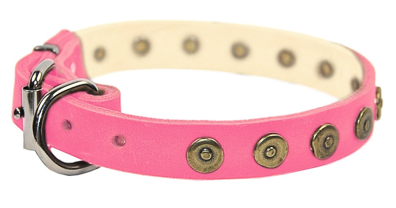 Dean & Tyler   Dot Matrix 20-Inch by 1-Inch Leather Dog Collar with Solid Brass Circles, Fits Neck 18-Inch to 22-Inch, Pink