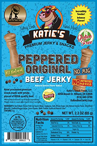 Peppered Beef Jerky-GLUTEN FREE -No Preservatives, Nitrites, or MSG, Award Winning!
