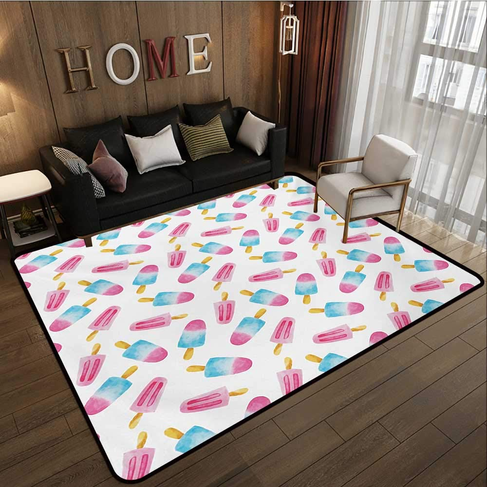 Household Decorative Floor mat,Pattern with Refreshing Watercolor Popsicles on White Background 6'6''x8',Can be Used for Floor Decoration by BarronTextile (Image #2)