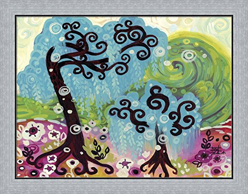 Blue Weeping Willow Whimsy I by Natasha Wescoat Framed Art Print Wall Picture, Flat Silver Frame, 30 x 24 inches