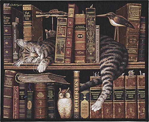 Pure Country Weavers Frederick The Literate by Charles Wysocki | Woven Tapestry Wall Art Hanging | Whimsical Tabby Asleep on Bookcase - Fun Cat Lover's Gift | Cotton USA Size 34x26