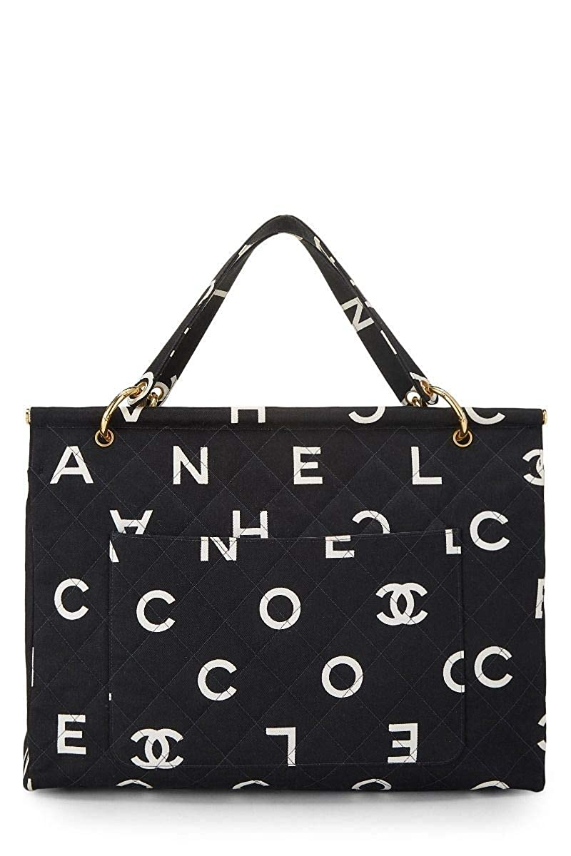 CHANEL Black Quilted Canvas Logo Frame Tote (Pre-Owned)