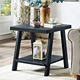 Cheap Roundhill Furniture OE3372 Athens Contemporary Replicated Wood Shelf End Table in Black Finish