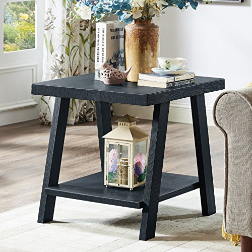Roundhill Furniture OE3372 Athens Contemporary Replicated Wood Shelf End Table in Black Finish