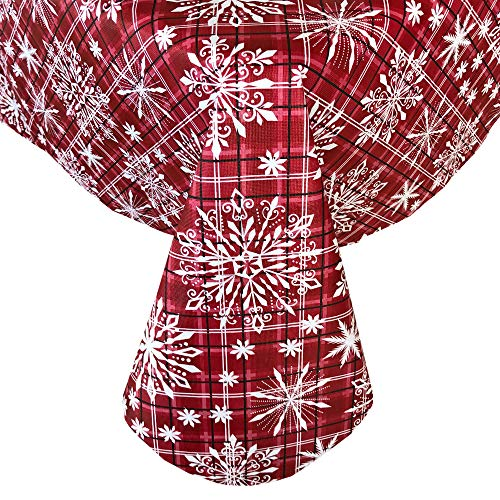 Newbridge Snowfall Snowflake Plaid Christmas Print Vinyl Flannel Backed Tablecloth, Contemporary Snowflake Design Xmas Tablecloth, 70 Inch Round, Red (70 Round Tablecloth Red)