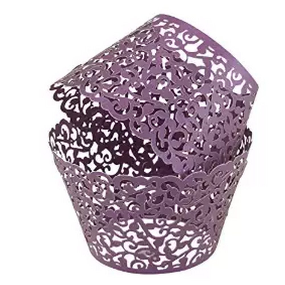 20Pcs Laser Cut Lace Muffin Case Cupcake Paper Cup Liner Birthday Wedding Cake Wrapper Purple