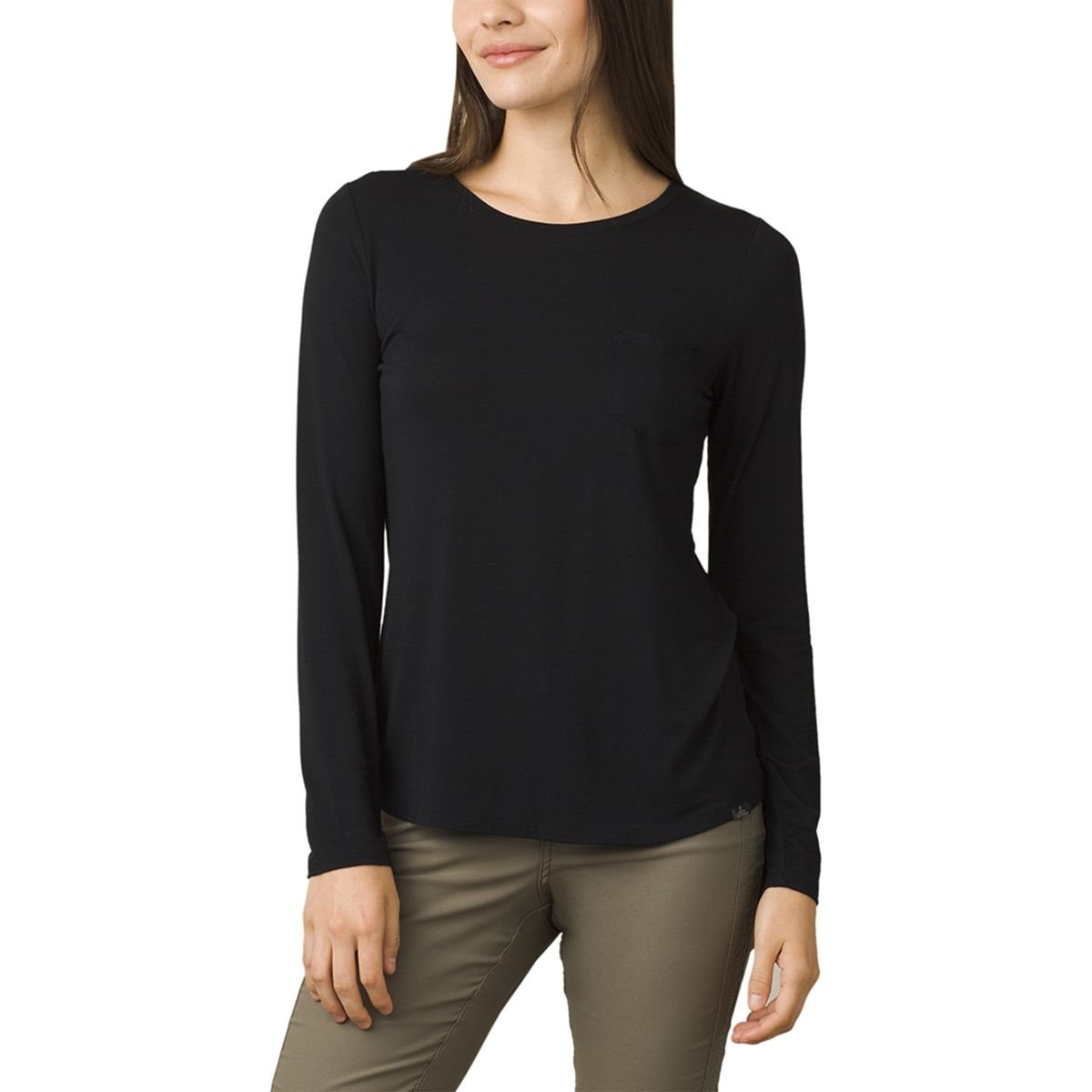 prAna Women's Foundation l/S Crew Neck Top, Black, Xsmall