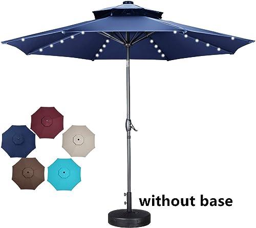 OVASTLKUY 10ft Solar 40 LED Light 2 Tiers Vented Patio Umbrella Outdoor Umbrella