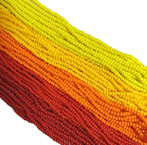 Czech 11/0 Glass Seed Beads - Opaque Fire Mix (5 X 6-string Hanks) Preciosa Jablonex