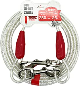 Petest Reflective Tie-Out Cable for Dogs Up to 35/60/90/125/250 Pounds, 15ft 25ft 30ft Length Available