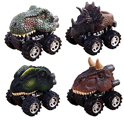 - Pull Back Dinosaur Cars, 4-Pack Vehicle Playset Animal Mini Car Toys Model with Big Tire Wheel for 3-14 Year Old Kids Toddlers Boys Girls Creative Birthday