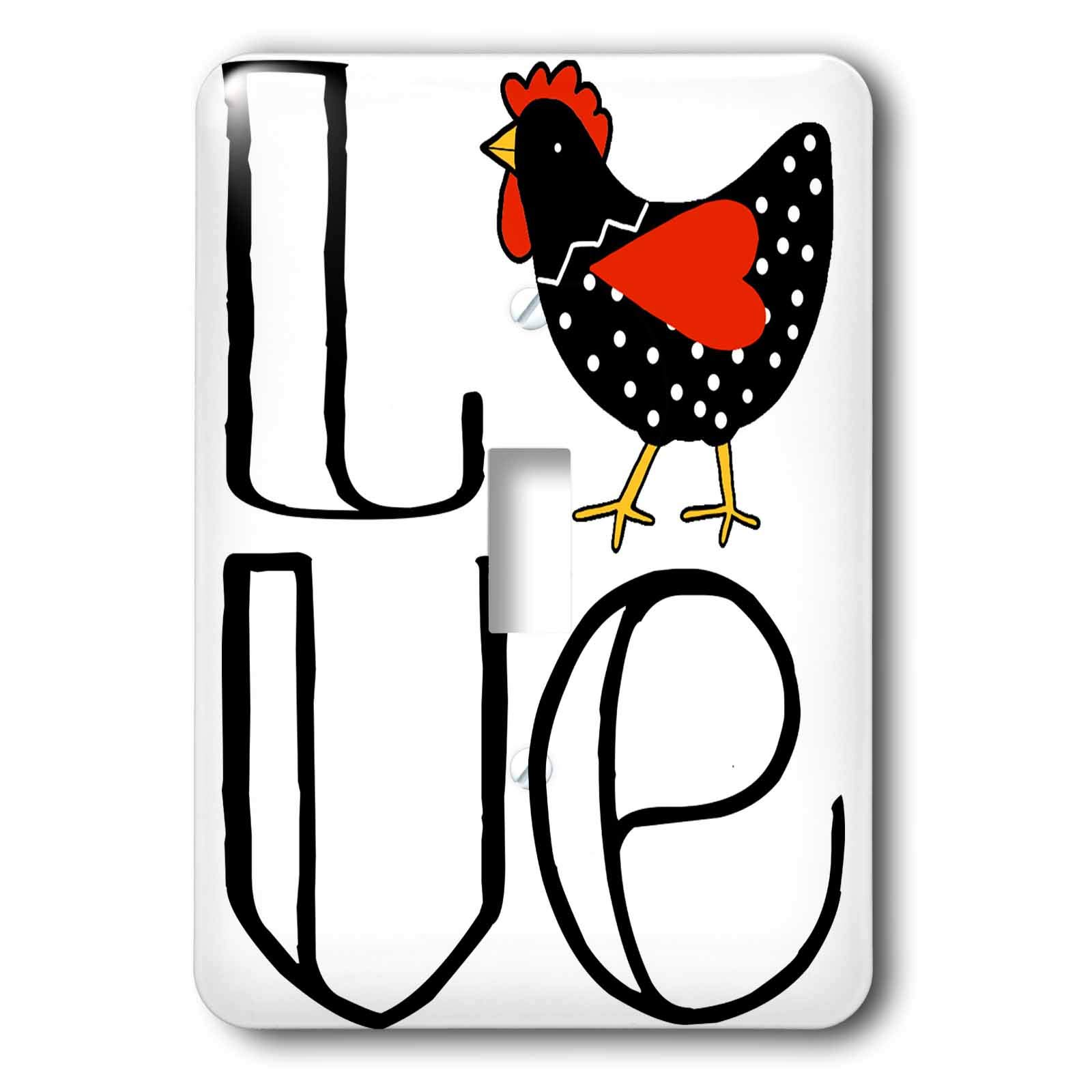 3dRose AllSouthernDesignTees - Birds - Fun cool word LOVE with a cute cartoon polka dot chicken as the O - Light Switch Covers - single toggle switch (lsp_290620_1)