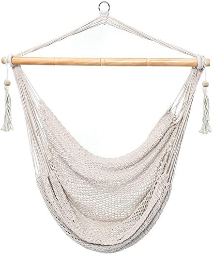 E EVERKING Hanging Rope Mesh Hammock Chair Swing