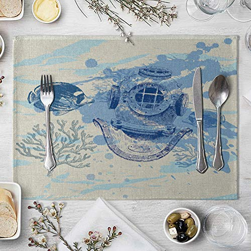 memorytime Fish Rudder Compass Heat Insulated Pad Kitchen Dining Table Mat Placemat Decor Kitchen Dining Supplies - 4# by memorytime (Image #7)