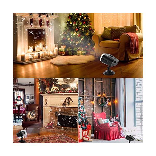 Proiettore Luci Natale LED, FOCHEA Proiettore Fiocchi di Neve Esterno e Interno Impermeabile con Telecomando RF per Decorazioni da Natale, Halloween, Matrimonio, Giardino 2 spesavip