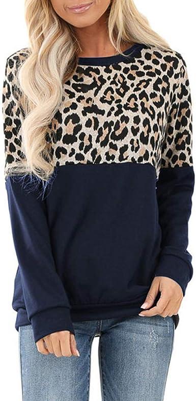 Lover-Beauty Camisa Mujer Top Leopardo Cuello Redondo Camiseta Casual Color Sólido Top Básico Mujer Suéter Elegante para Otoño Jersey Mujer Talla Grande Sexy: Amazon.es: Ropa y accesorios