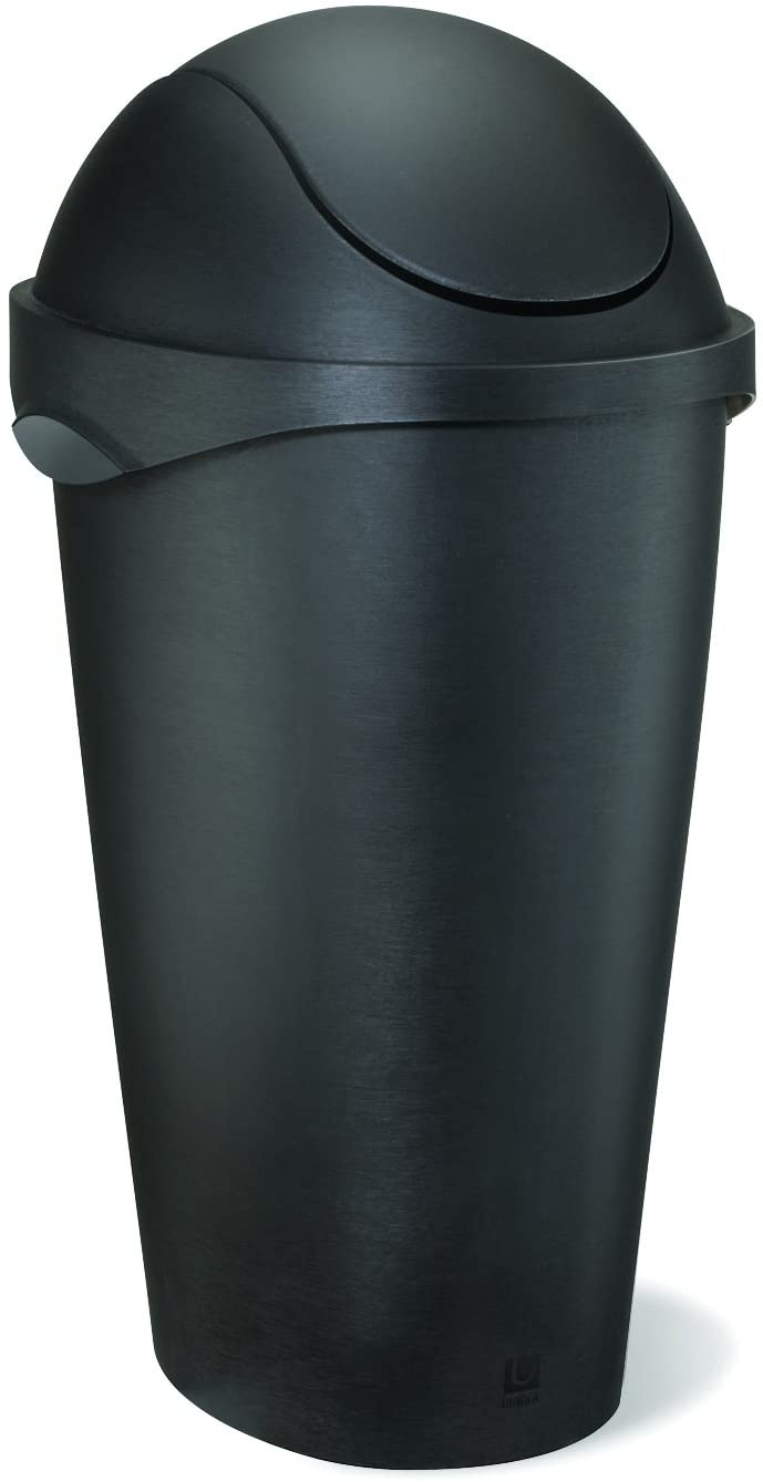 Umbra, Black Swinger 12-Gallon Swing-Top Waste Can, 11-20