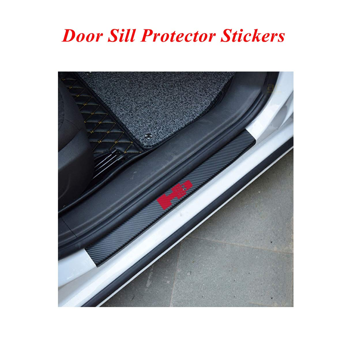 door sill plate protector film for car Car Door Sill Protector Scuff Plate Stickers with H3 logo door sill protector film for Hummer series White Universal Door sill entry guard protector stickers
