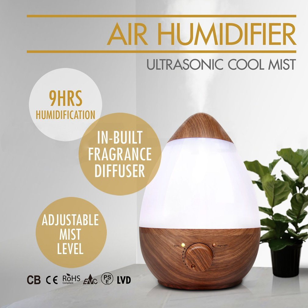 YCDC 2.3L wood pattern humidifier, home baby room humidifier, quiet fragrance water drops egg-shaped humidifier by YCDC (Image #4)